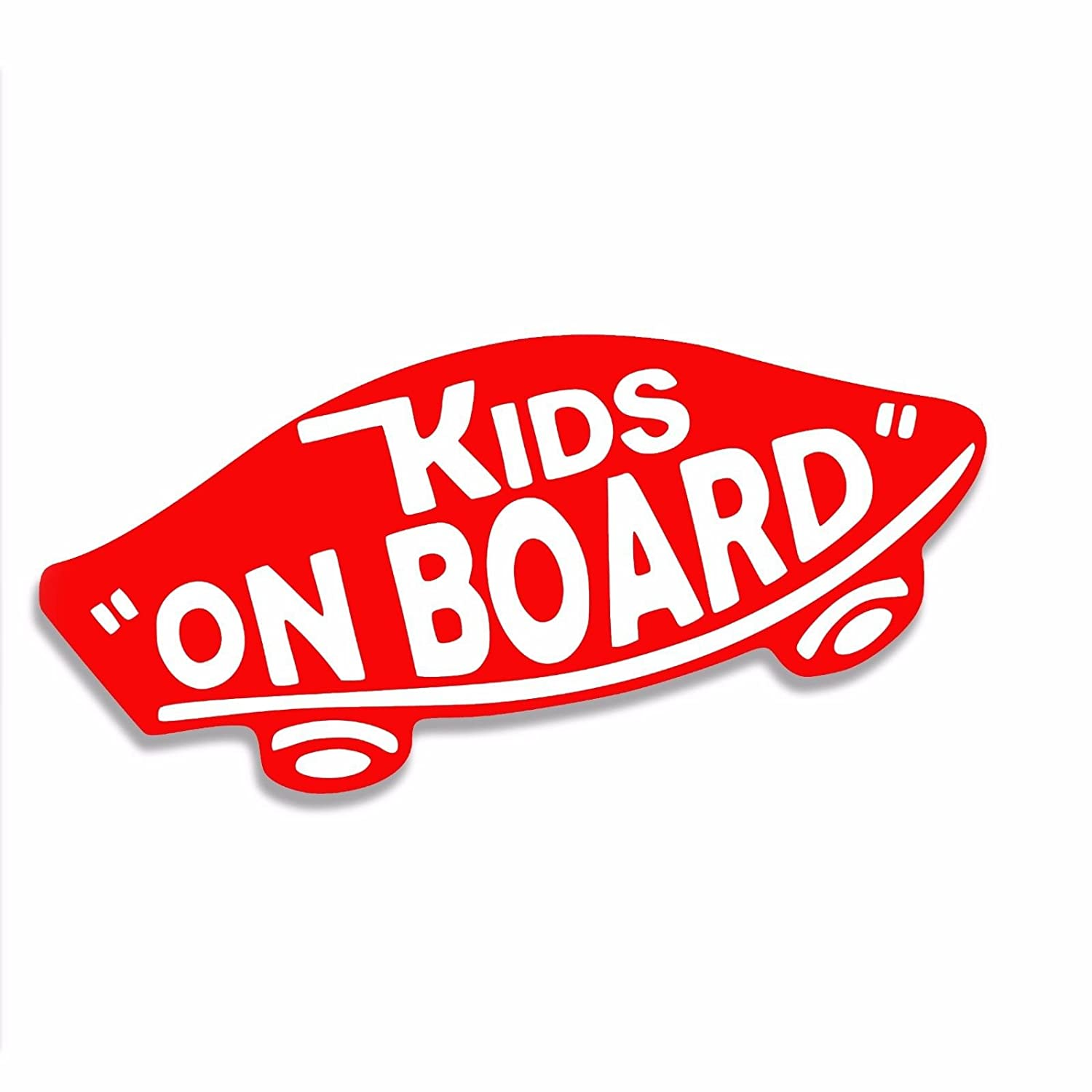 61dc27bab9a1a KIDS ON BOARD Vans Style Surf Skate Vinyl Decal Sticker Red