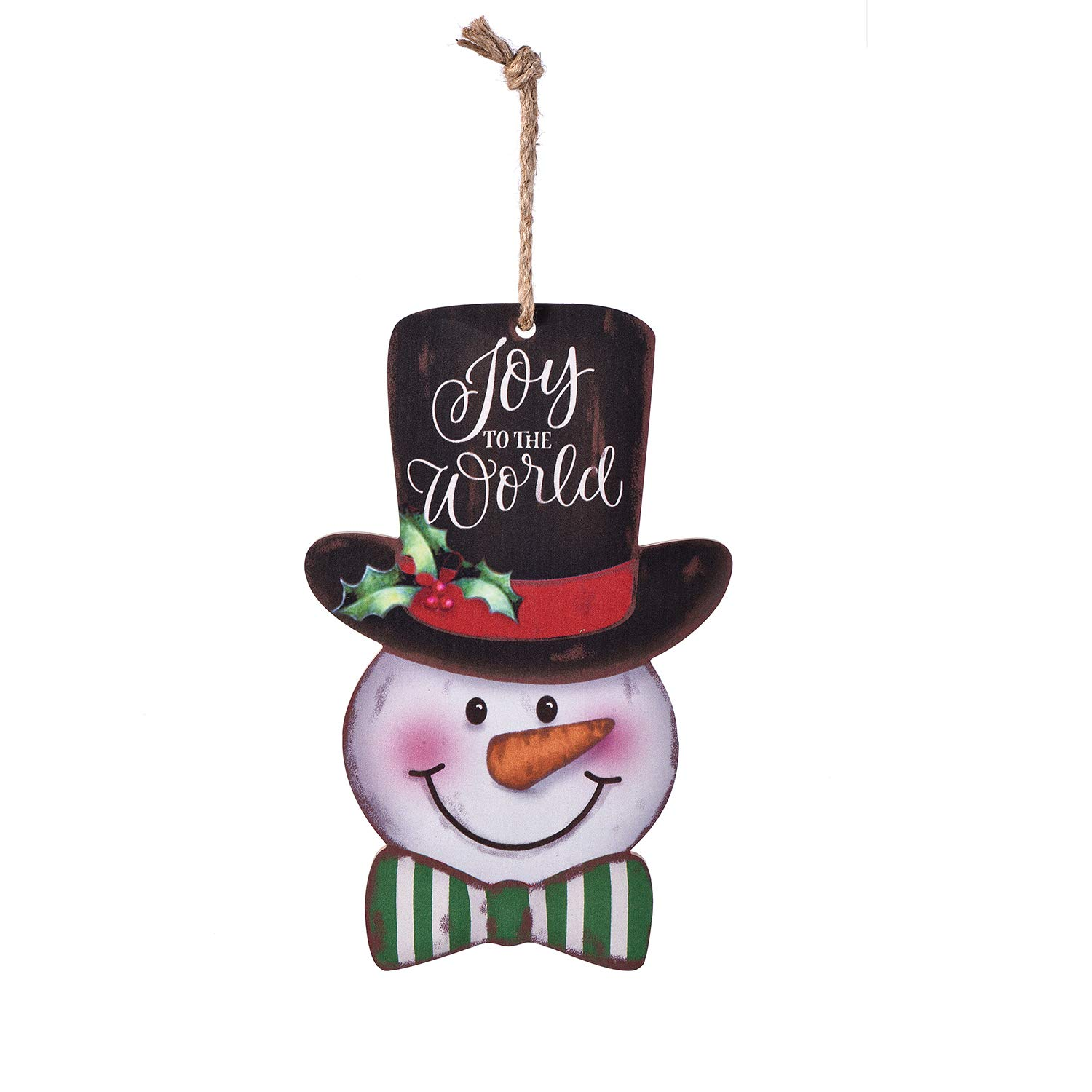 MAIYUAN Snowman Door Wall Plaque Sign Christmas Holiday New Year Hanging Decoration Indoor Outdoor Wood Sign Home Decor (Joy to The World)