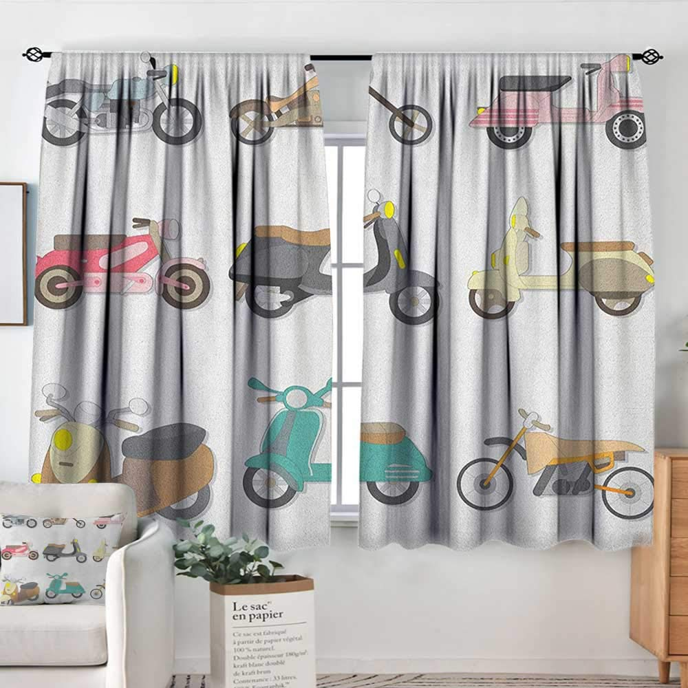 Theresa Dewey Curtain Panels,Set of 2 Doodle,A Variety of Scooters in Cute and Pleasant Design Bike Riding Wheels Transportation, Multicolor,Modern Farmhouse Country Curtains 63''x72'' by Theresa Dewey
