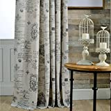 Anady Top 2 Panel Curtains Living Room Drapes Classic Pattern Curtains Linen Cotton Drapes Grommet 100 inch Long(Customized Available) Review