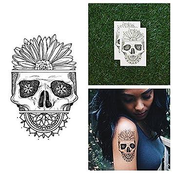 Tatuaje Temporal Tattify - Calavera con Girasol - Pétalo de la ...