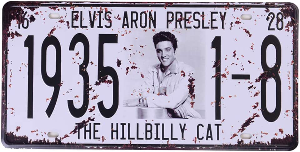 Elvis Presley Memorabilia License Plate, Tin Sign Wall Decor for Home Garage Man Cave Woman Cave, 6x12 Inch/15x30cm