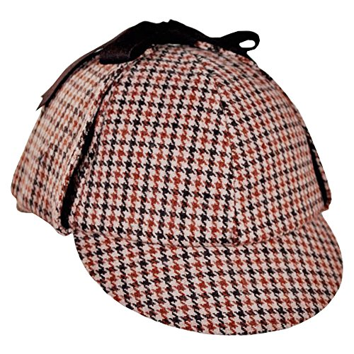 Sherlock Homes Costume (Sherlock Holmes Houndstooth Detective Costume Hat Red &)