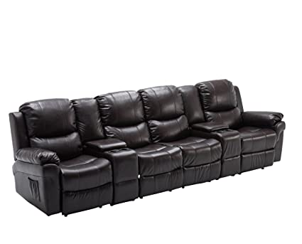 Beautiful Mcombo Brown 4 Seat Leather Home Theater Recliner Media Sofa Combination  Sofa W/Cup