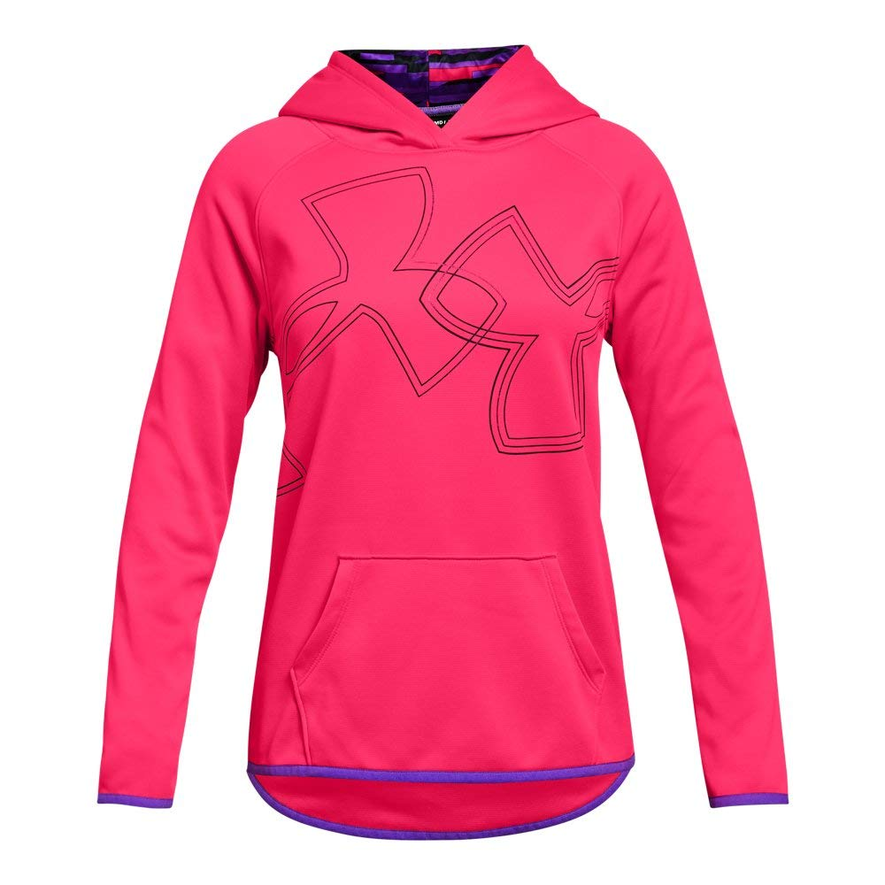 Under Armour Girls Armour Fleece Dual Logo Hoodie, Penta Pink (975)/Black, Youth X-Small