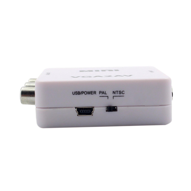 Audio a PC HDTV Conversor CVBS Audio XZANTE 1080P Mini VGA a RCA AV Conversor con 3.5mm VGA 2AV