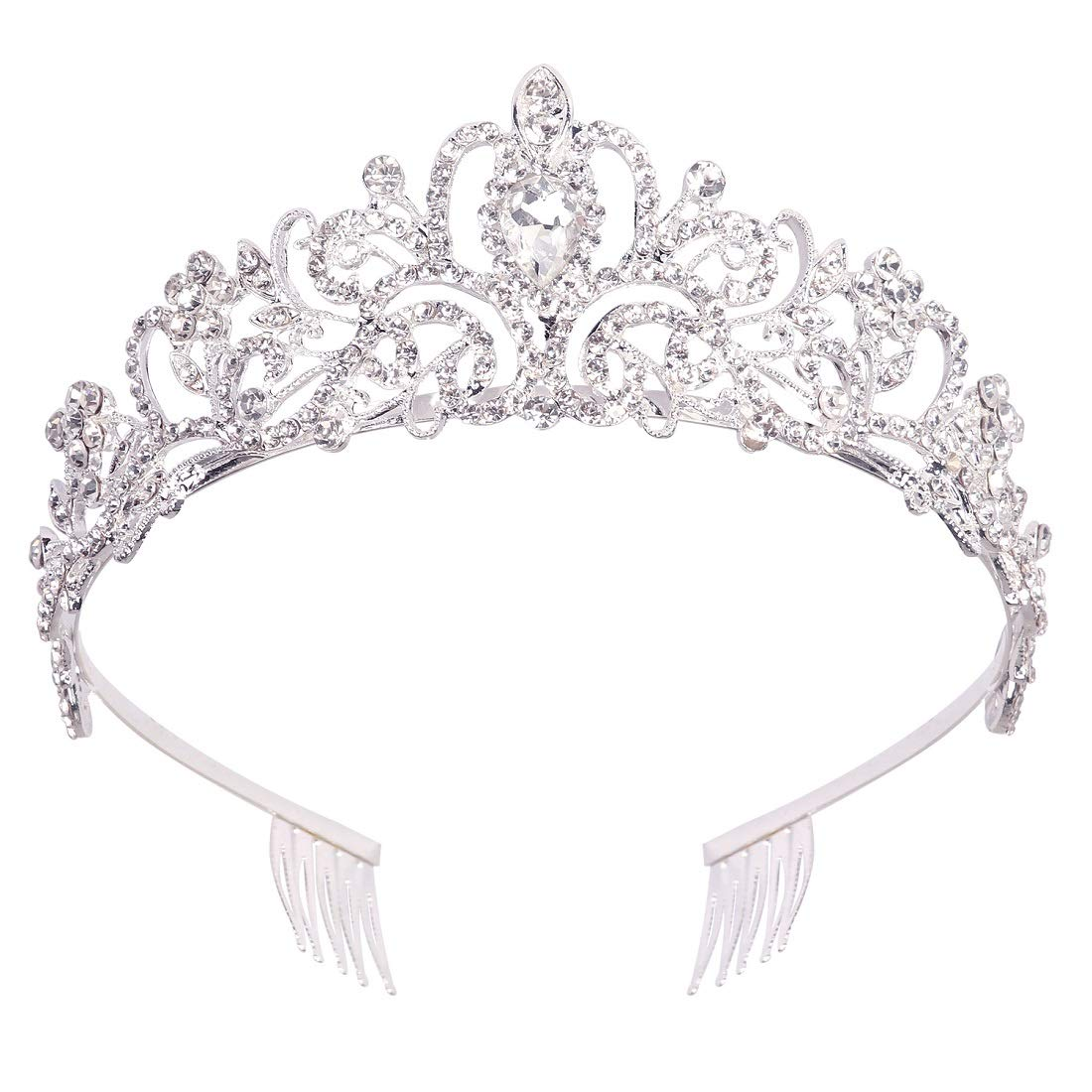 Didder Silver Crystal Tiara Crown Headband Princess Elegant Crown with combs for Women Girls Bridal Wedding Prom Birthday Party