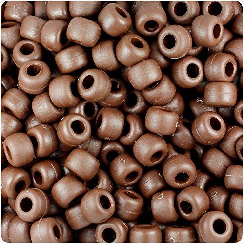 (BeadTin Chocolate Matte 9mm Barrel Pony Beads (500pcs))