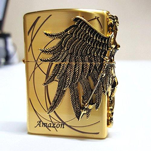 Zippo Zip (Zippo Amazon Gold Lighter / Genuine Authentic / Original Packing (6 Flints set Free Gift))