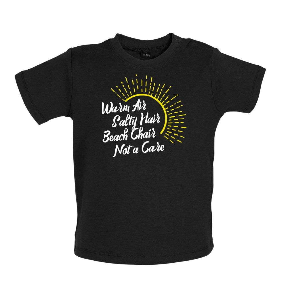 Baby T-Shirt Warm Air Beach Chair Salty Hair 8 Colours 3-24 Months Not A Care