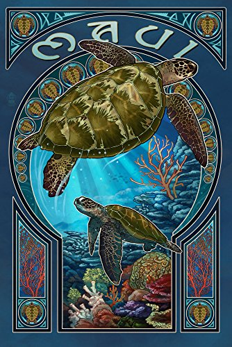 Maui, Hawaii - Sea Turtle Art Nouveau (24x36 SIGNED Print Master Giclee Print w/ Certificate of Authenticity - Wall Decor Travel Poster) by Lantern Press