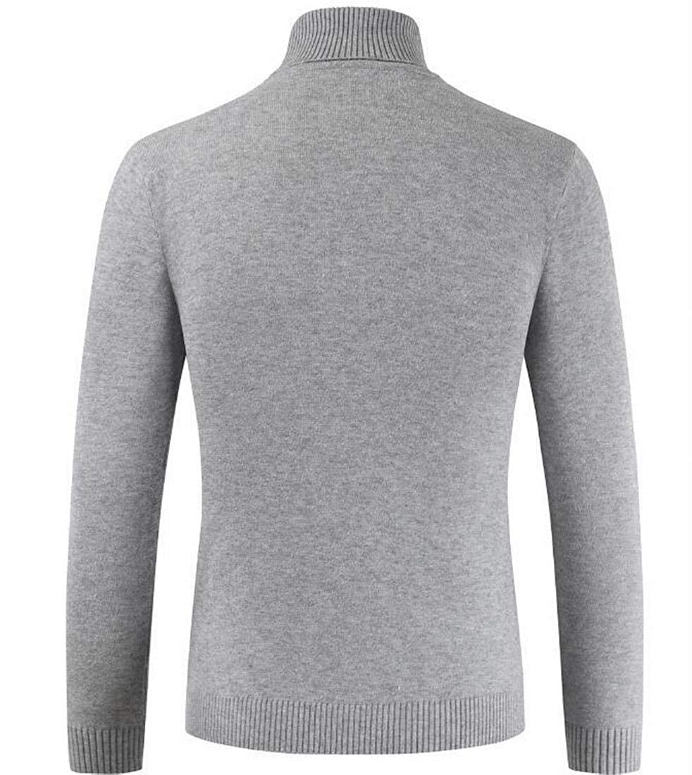 CRYYU Men Winter Pullover Ribbed Knit Turtleneck Knit Sweater Blouse Top