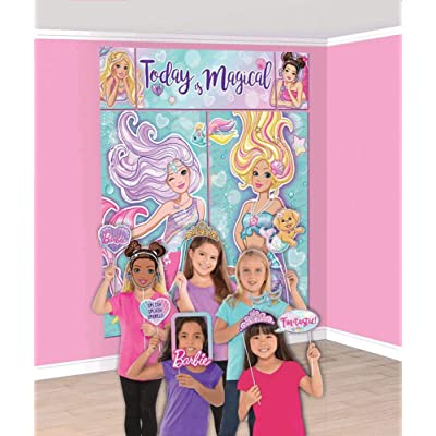 """amscan""""Barbie Mermaid"""" Party Scene Setters w/Photo Props, 17 Pc, Multicolor (670914): Toys & Games"""