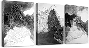 Canvas Wall Art for Living Room Bathroom Wall Decor for Bedroom Kitchen Canvas art Prints Black and white line abstract paintings Pictures 3 Piece Modern inspirational fashion Office Home Decorations