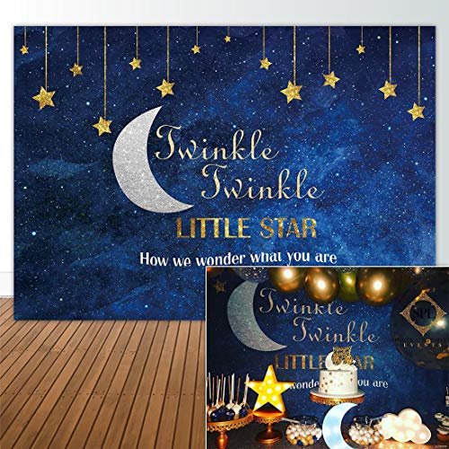 Allenjoy 7x5ft Photography Backdrop Background Twinkle Twinkle Little Gold Glitter Star Birthday Party Banner Newborn Props Photo Studio Booth Baby Shower photocall -