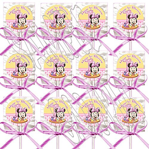 Baby Minnie Mouse Party Favors Supplies Decorations 1st Birthday Lollipops w/ Pink Bows Favors -12 pcs -