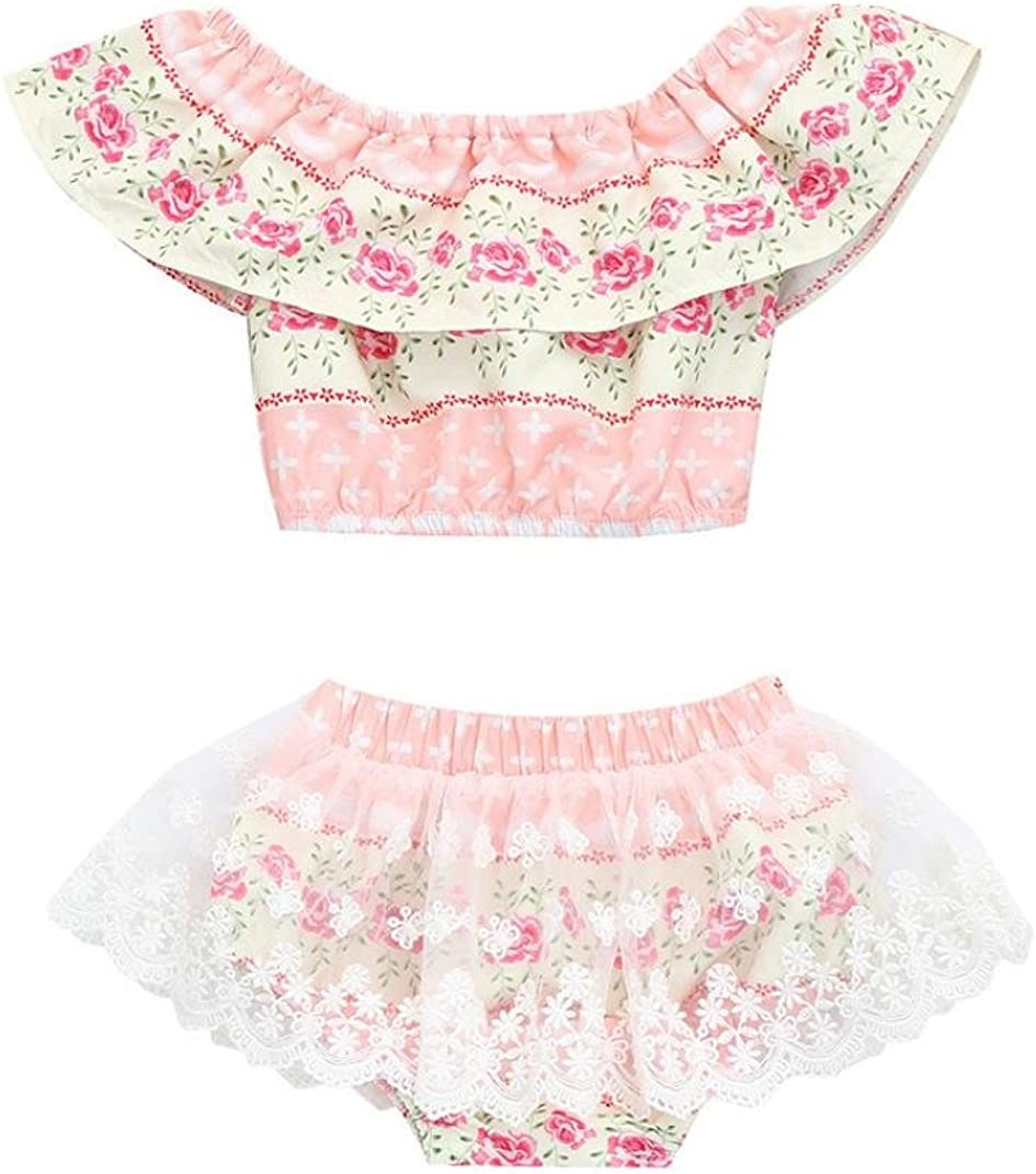 Moonker Toddler Baby Girls Summer Clothes Set Off Sholder Lace Top Blouse and Floral Shorts Briefs Outfits Sets 0-2T