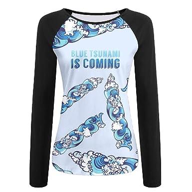 ed0a3cadb1b5 Blue Tsunami Is Coming Cartoon Women s 3d Print T-Shirt Baseball Long Sleeve  T Shirt