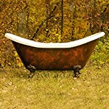 68'' Acrylic Double Slipper Clawfoot Bathtub with Faux Copper Bronze Finish Deck Mount Faucet Holes- ''Copper Harrison''