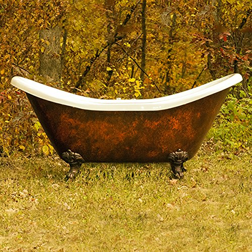 68' Acrylic Double Slipper Clawfoot Bathtub with Faux Copper Bronze Finish Deck Mount Faucet Holes- 'Copper Harrison'