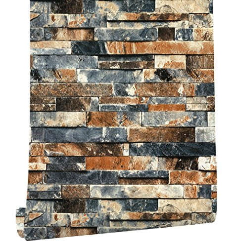 (HaokHome 91303 Modern Faux Brick Stone Textured Wallpaper Roll Blue Grey/Taupe/Black Brick Blocks Home Room Decoration 20.8