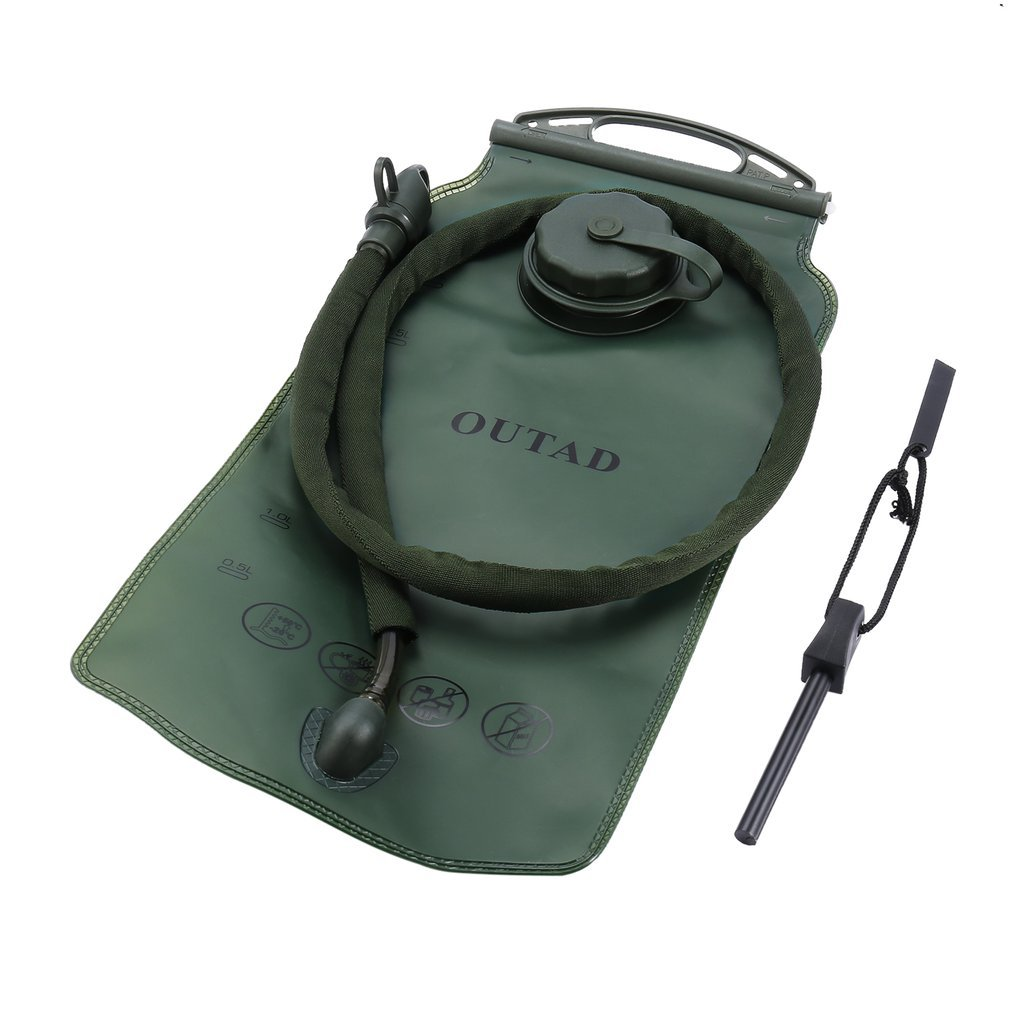 Hydration Bladder Water Reservoir 3 Liter 3L 100 oz For Bicycling Hiking Camping Backpack. Non Toxic Easy Clean Large Opening,Quick Release Insulated Tube & Shutoff Valve with FlintStones Lighter Tool