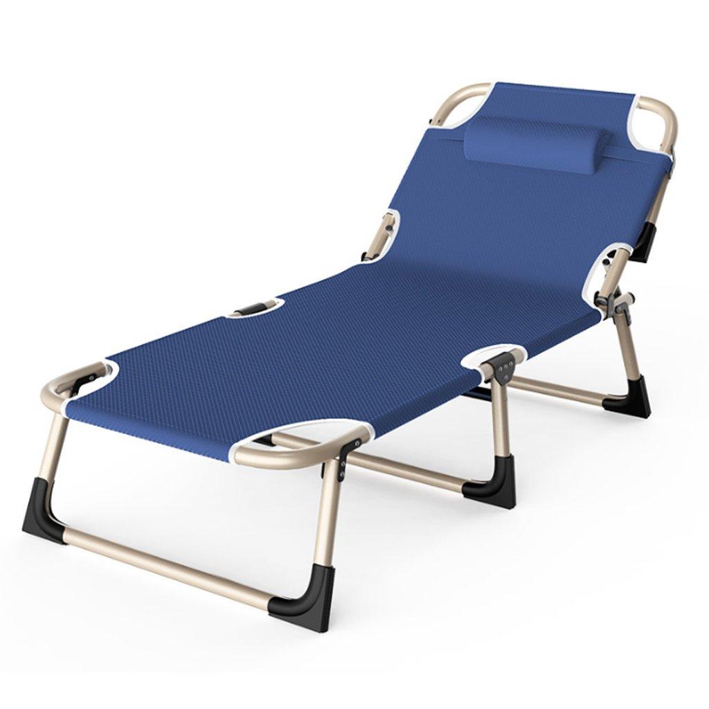 TangMengYun Klappbett Einfache Büro Mittagspause Stuhl Lounge Chair Erwachsene Klappbett Marineblau Camping Bett