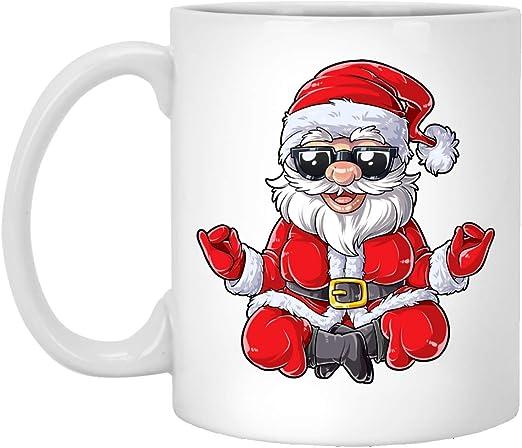 Amazon Com Yoga Christmas Mug Santa Namasleigh Pose Xmas Gift Christmas Gifts Coffee Mug Kids Boy Girl Holiday Mug Yoga Santa Mug Christmas Coffee Mugs White 11oz Mug Kitchen Dining