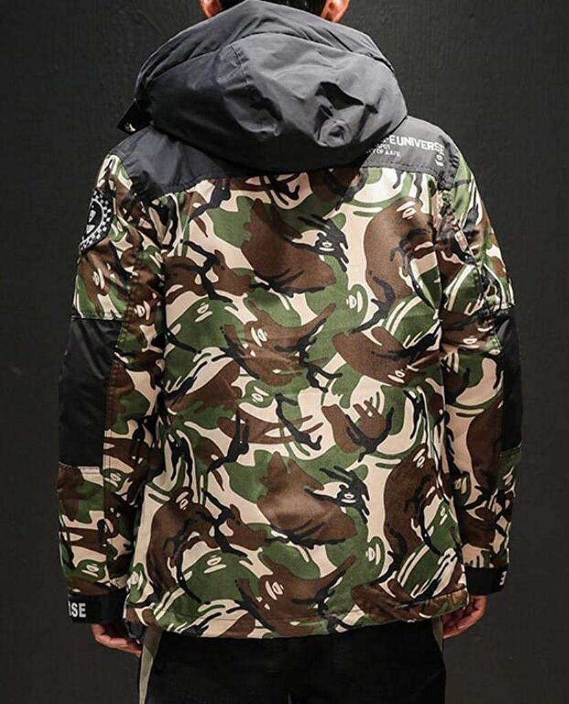 Fubotevic Mens Camo Warm Zip Up Winter Thicken Hoodie Down Coat Jacket Outerwear