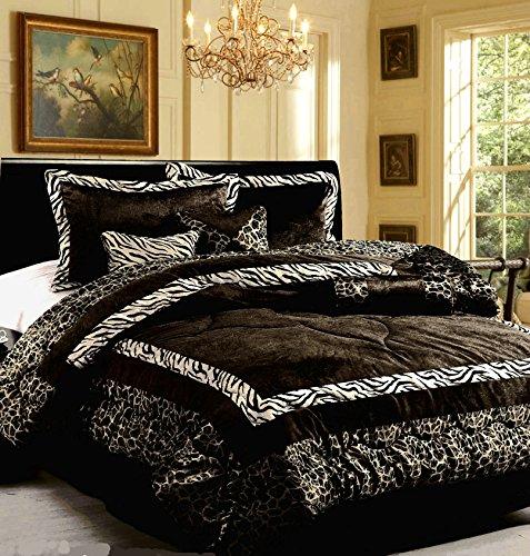 Polyester Victorian Quilt - Dovedote Safarina Zebra Animal Print Comforter Set, Queen - Black White