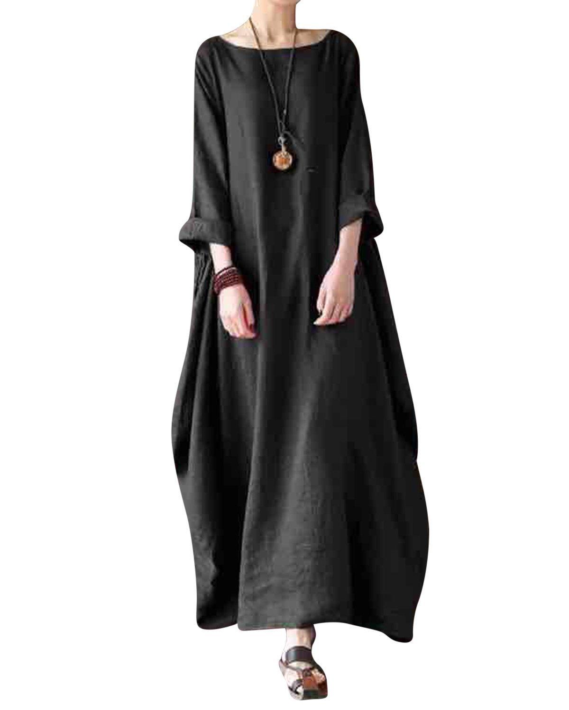 Jacansi Women Casual Party Oversize Cotton Linen Asymmetric Hem Swing Maxi Dress Black 3XL