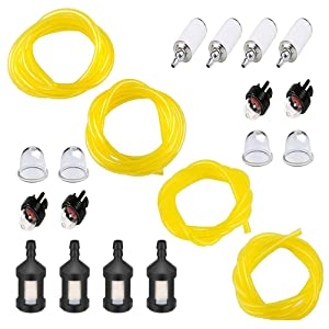 QIUYE 20 Feet Fuel Lines Hose (4 Sizes) with Fuel Filter and Primer Bulb, Replacement Set for Chainsaw String Trimmer Leaf Blower Lawnmower Common 2 Cycle Small Engine (Fuel Line1)