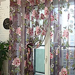 "Malloom Peony Floral Voile Door Curtain Window Room Sheer Panel 98"" X 40"" (Red)"