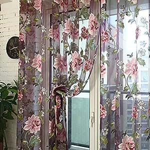 Malloom Peony Floral Voile Door Curtain Window Room Sheer Panel 98u0026quot; ...