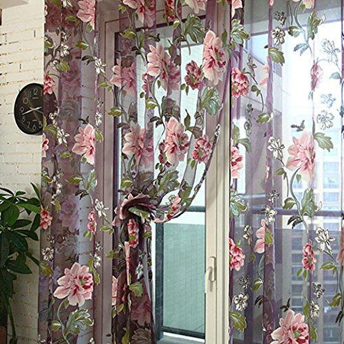Malloom Peony Floral Voile Door Curtain Window Room Sheer Panel 98