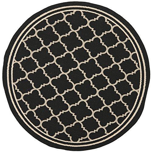 Safavieh Courtyard Collection CY6918-226 Black and Beige Indoor/ Outdoor Round Area Rug (7'10