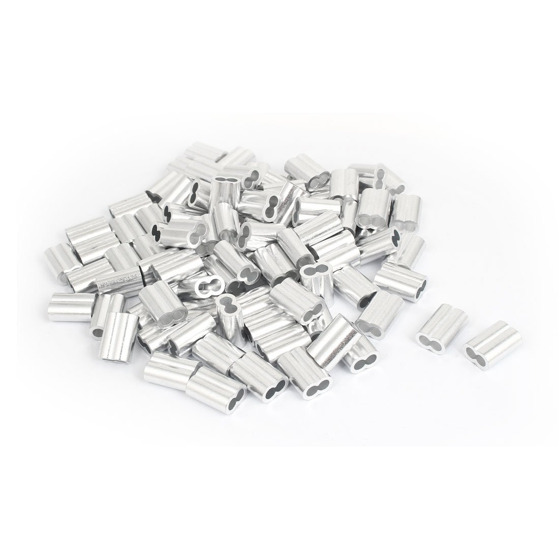 uxcell Double Hole Aluminum Sleeves Silver Tone 100 Pcs for 1/4'' Wire Rope