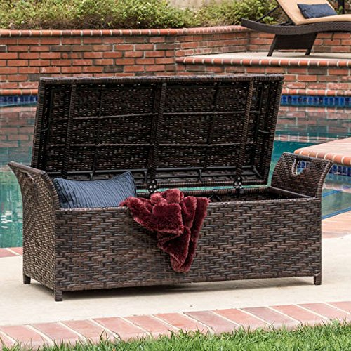 Christopher Knight Home Wing Outdoor Wicker Storage Bench with Cut-out Handles on Both Sides by Unknown