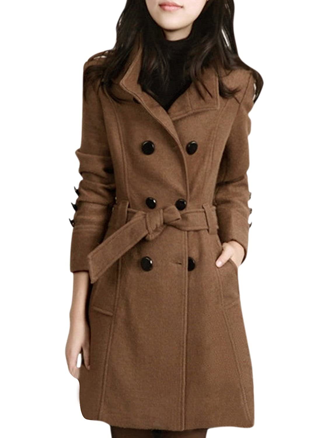 ACHICGIRL Women's Fashion Double Breasted Woolen Trench Coat with Belt