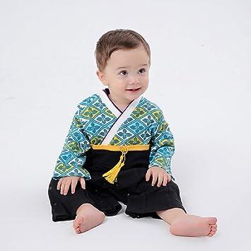 5d8265f9e9a25 袴 ロンパース 男の子 着物風 和柄 カバーオール ベビー 袴 キッズ 袴風 フォーマル よだれかけ1