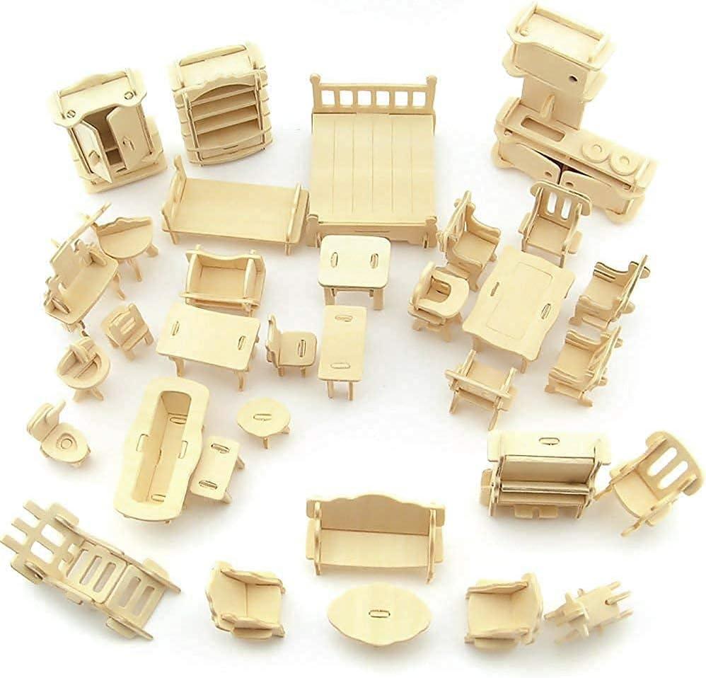 Dollhouse Furniture - Laser Cut Handmade Wooden 3D Puzzle Miniature Dolls House Kit House Furniture Set - 34 Pieces