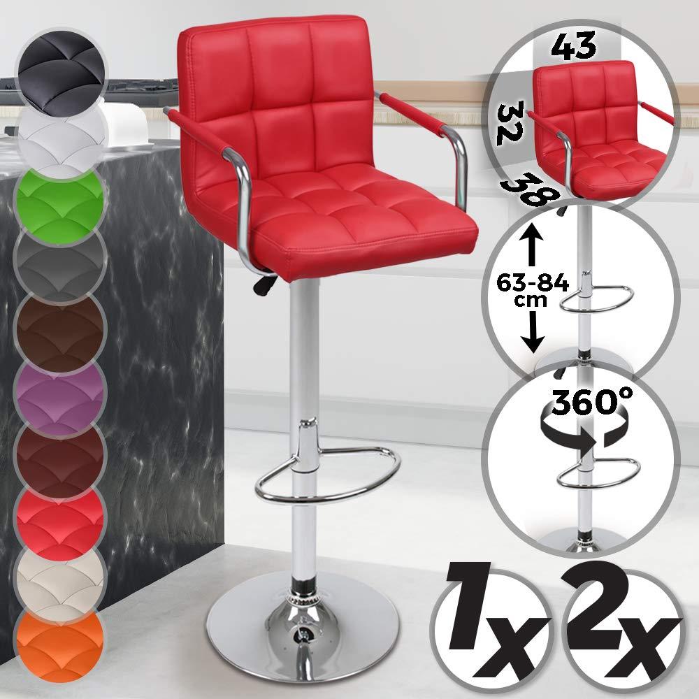 Sgabelli da Bar Poggiapiedi Mobili da Pranzo con Braccioli Colore e Set a Scelta Regolabile in Altezza e Il Sedile Girevole Rosso, 1 Pezzo Mobili da Bar