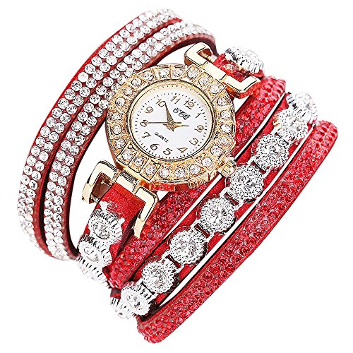 ( Orcbee  _CCQ Women Fashion Casual Analog Quartz Women Rhinestone Watch Bracelet Watch Gift (Red))