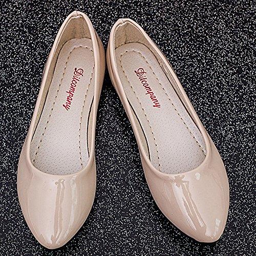 Minetom Damen Elegant Pu-Leder Flache Schuhe Sommer Frühling Herbst Beiläufige Tanzschuhe Beige