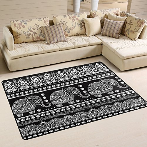 Naanle Mandala Elephant Area Rug 2'x3', African Tribal Ethnic Elephant Polyester Area Rug Mat for Living Dining Dorm Room Bedroom Home Decorative