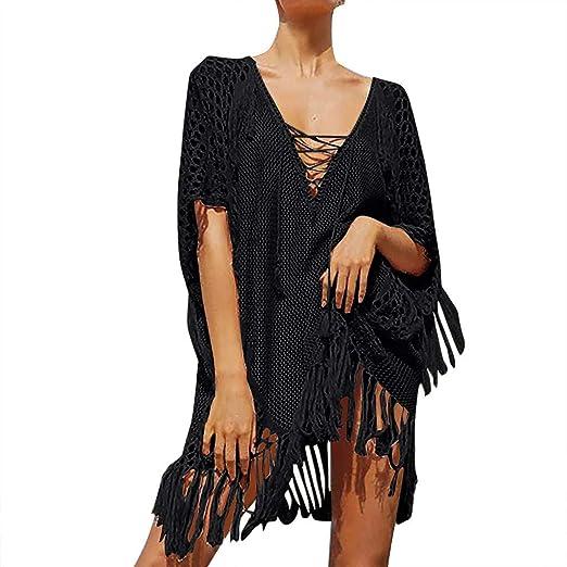 b05774cba0 NAN-21C Women's Handmade Thin Knit Hanging Beach Bikini Blouse Sunscreen  Swimsuit Jacket Black