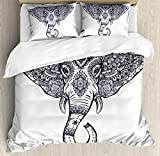 Elephant Mandala Duvet Cover Set by Ambesonne, Vintage Ornate Holy Animal Head with Floral Paisley Sacred Details, 3 Piece Bedding Set with Pillow Shams, Queen / Full, Purple and White