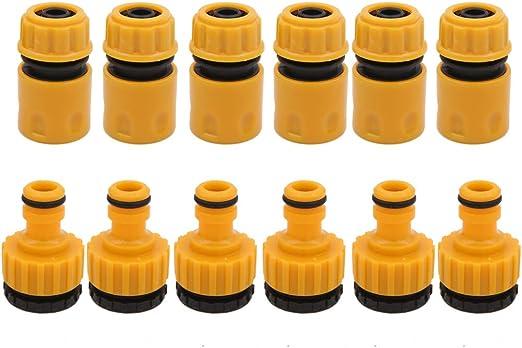 Boerni - 6 Conectores de plástico para Manguera de jardín de 1, 27 cm y 6 Conectores de Grifo, Kit de Herramientas de conexión de riego: Amazon.es: Jardín