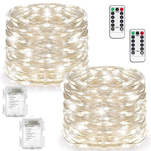 2 Set Fairy Lights Battery Operated Waterproof with Remote Control(Timer), Warmtaste 8 Modes 100 LED 33ft String Lights Copper Wire Firefly Lights for Bedroom Wedding Festival Decor ( Cool White) (100 Fireflies)