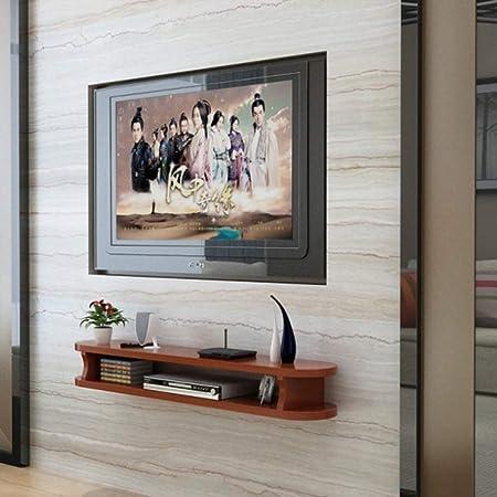 Pared Consola para TV,Madera Flotante TV Mueble para Cable Caja Set-Top Box Modern Almacenamiento para La Decoración De La Pared De Fondo Teca 120x22x15cm(47x9x6inch): Amazon.es: Hogar